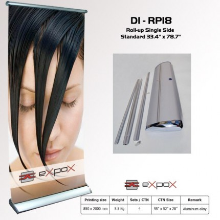 Display Roll-Up Single Side Lux. Chrome Expox 33.4in x 78.7in