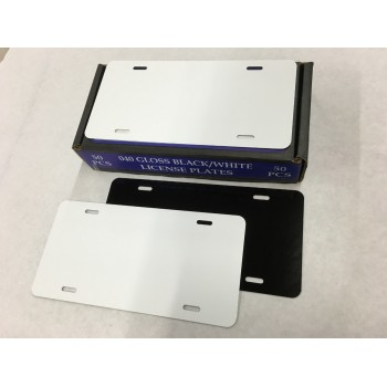 .040 White/Blk Aluminum License Plates (A-62)